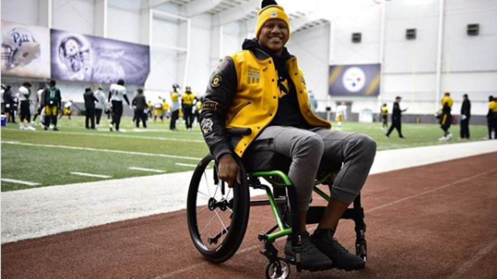 0b0c94fbbcd Steelers linebacker Ryan Shazier attends practice Wednesday in a  wheelchair. (Screenshot from Ryan Shazier s Instagram) p   p